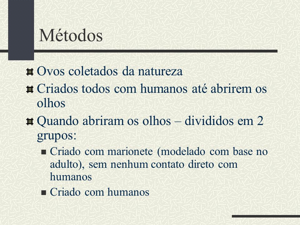 Métodos Ovos coletados da natureza