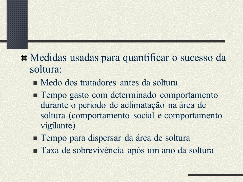 Medidas usadas para quantificar o sucesso da soltura: