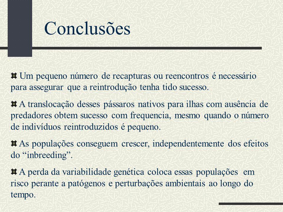 Conclusões Um pequeno número de recapturas ou reencontros é necessário para assegurar que a reintrodução tenha tido sucesso.