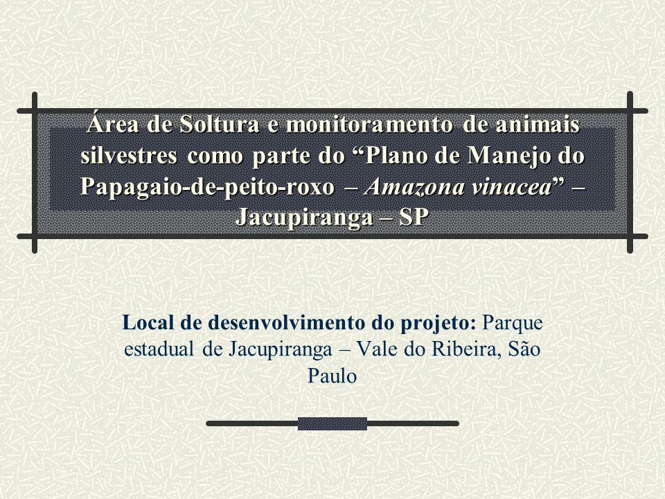 Área de Soltura e monitoramento de animais silvestres como parte do Plano de Manejo do Papagaio-de-peito-roxo – Amazona vinacea – Jacupiranga – SP