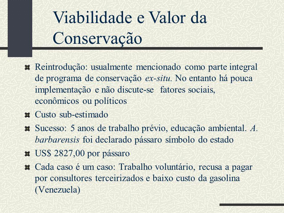 Viabilidade e Valor da Conservação