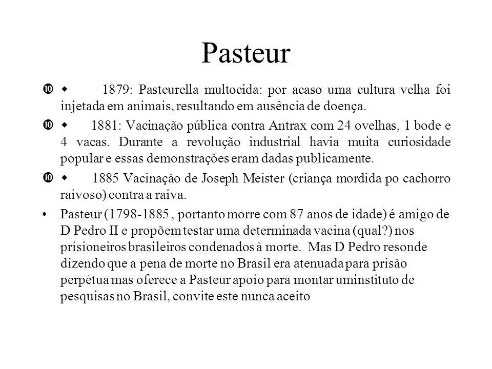 Pasteur w 1879: Pasteurella multocida: por acaso uma cultura velha foi injetada em animais, resultando em ausência de doença.