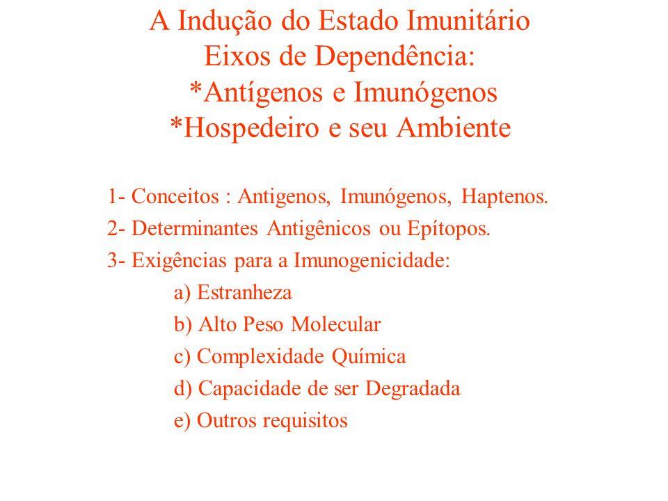 A Indução do Estado Imunitário Eixos de Dependência:
