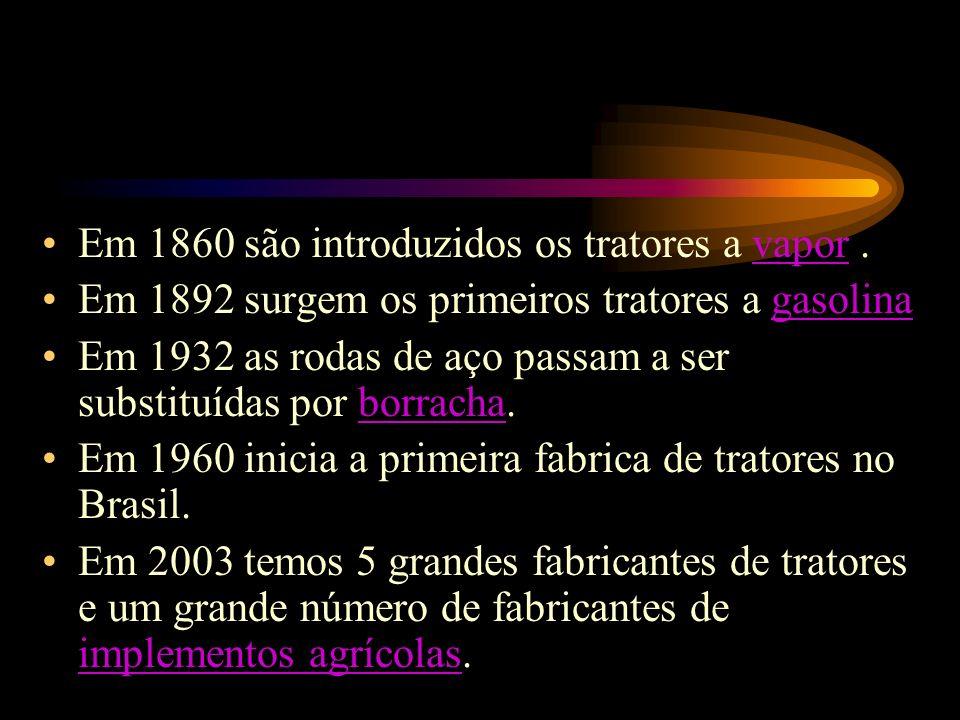 Em 1860 são introduzidos os tratores a vapor .