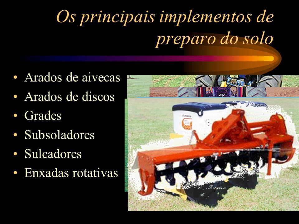 Os principais implementos de preparo do solo