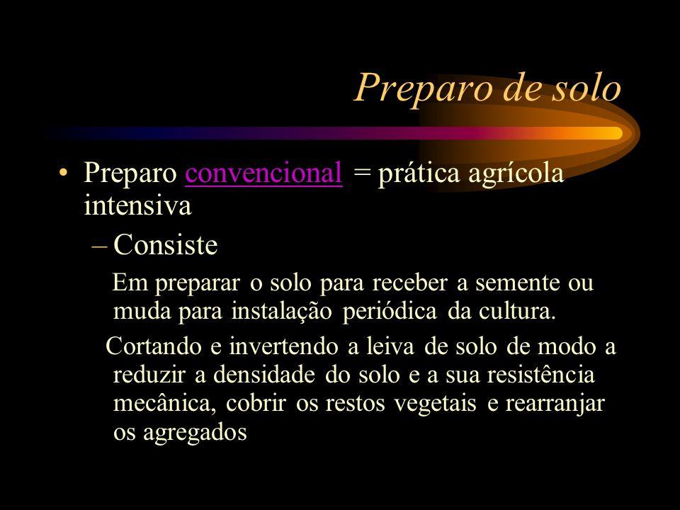 Preparo de solo Preparo convencional = prática agrícola intensiva