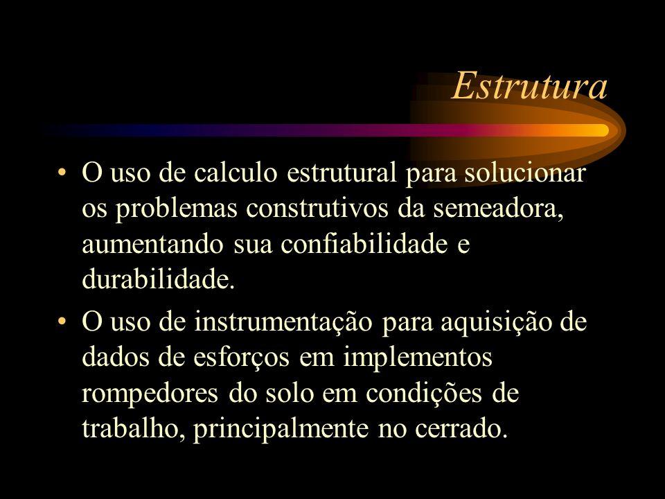 EstruturaO uso de calculo estrutural para solucionar os problemas construtivos da semeadora, aumentando sua confiabilidade e durabilidade.