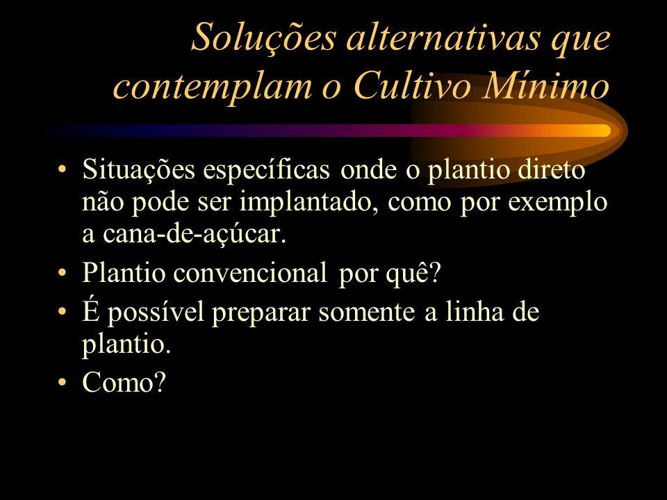Soluções alternativas que contemplam o Cultivo Mínimo