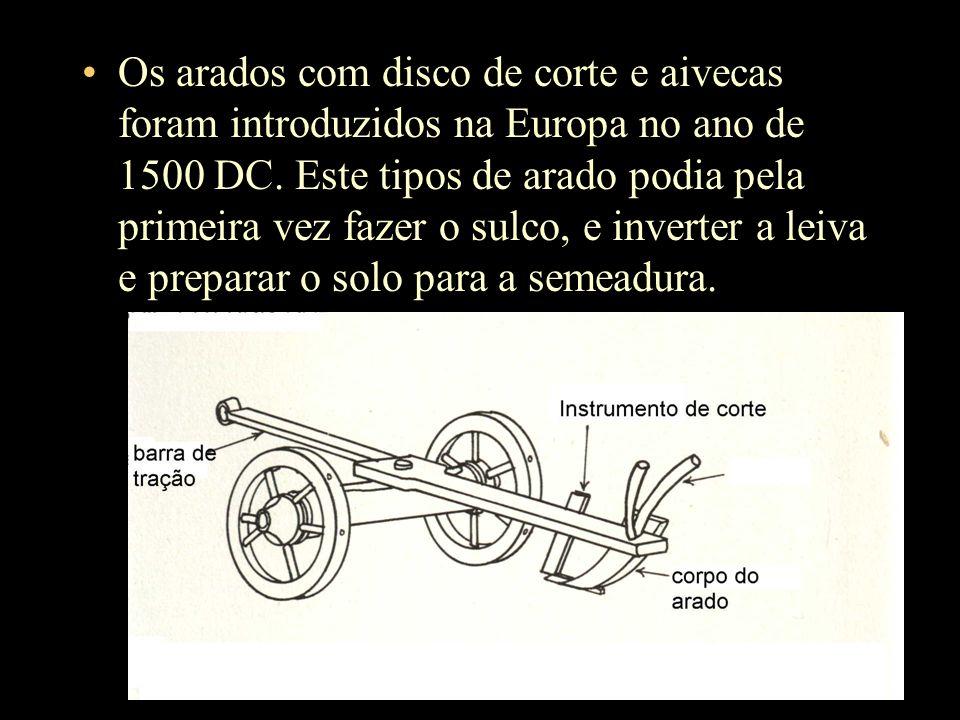 Os arados com disco de corte e aivecas foram introduzidos na Europa no ano de 1500 DC.