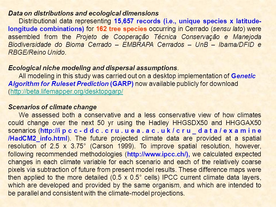 Data on distributions and ecological dimensions