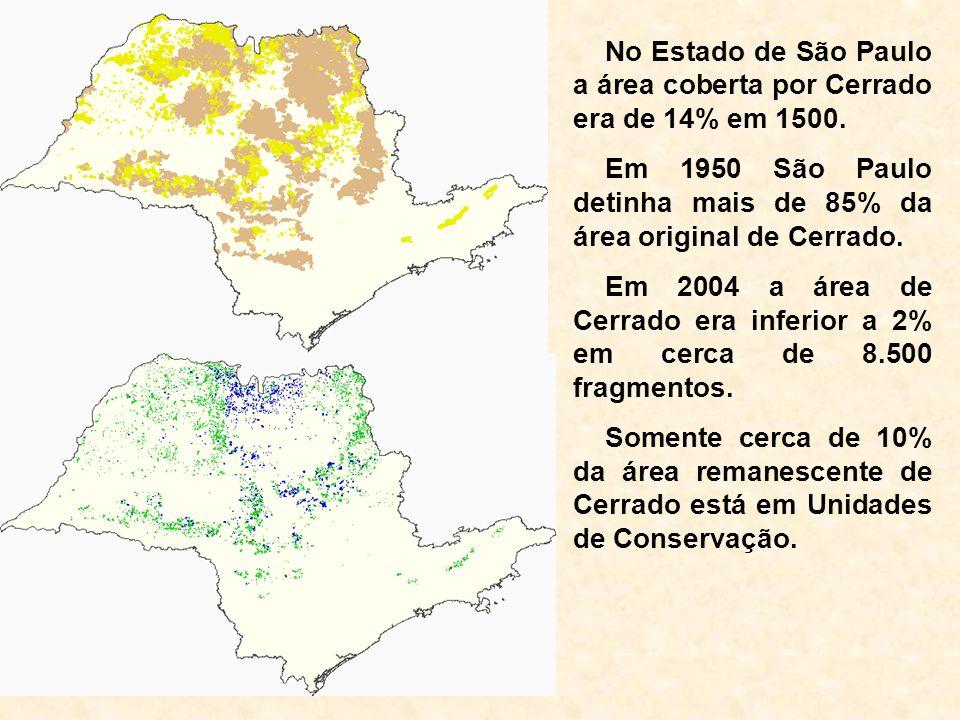 No Estado de São Paulo a área coberta por Cerrado era de 14% em 1500.