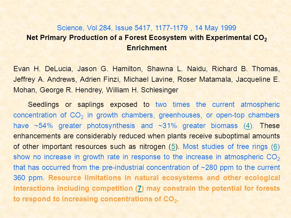 Science, Vol 284, Issue 5417, 1177-1179 , 14 May 1999 Net Primary Production of a Forest Ecosystem with Experimental CO2 Enrichment.