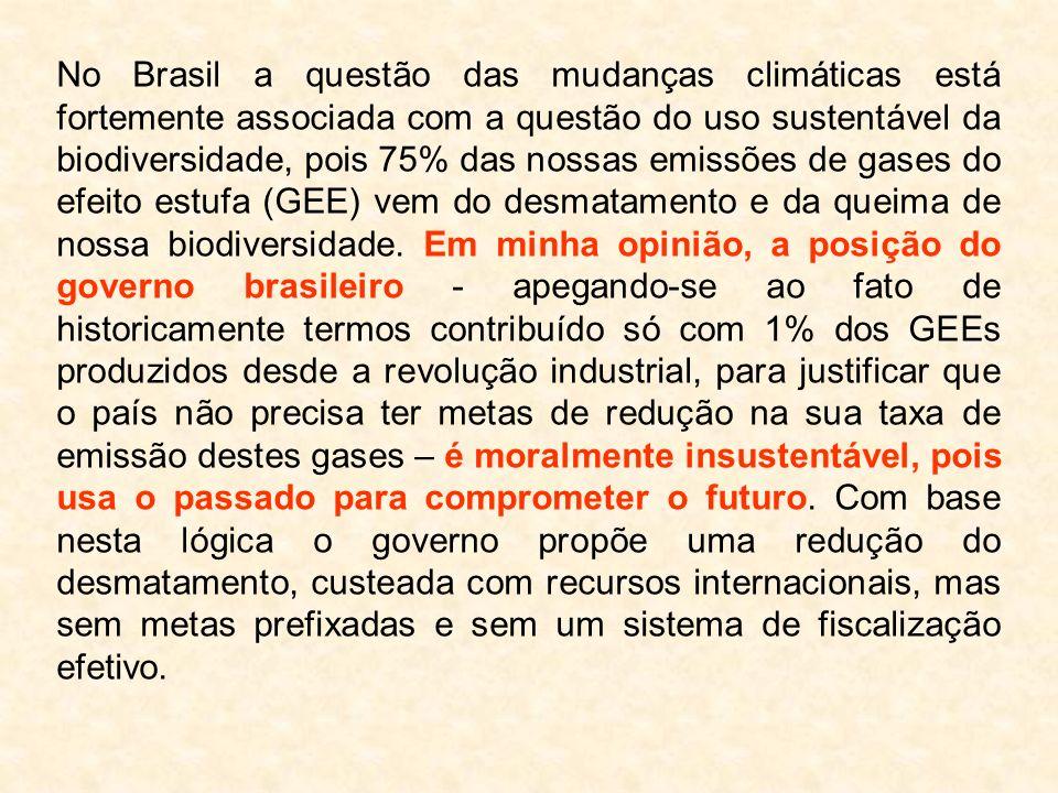 No Brasil a questão das mudanças climáticas está fortemente associada com a questão do uso sustentável da biodiversidade, pois 75% das nossas emissões de gases do efeito estufa (GEE) vem do desmatamento e da queima de nossa biodiversidade.