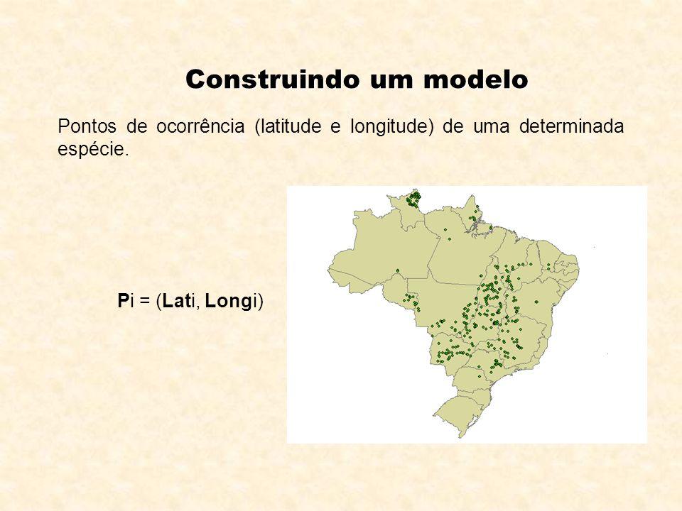 Construindo um modeloPontos de ocorrência (latitude e longitude) de uma determinada espécie.