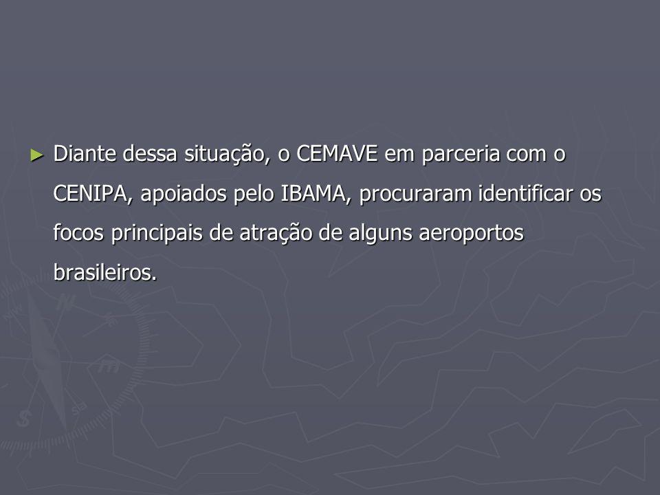 Diante dessa situação, o CEMAVE em parceria com o CENIPA, apoiados pelo IBAMA, procuraram identificar os focos principais de atração de alguns aeroportos brasileiros.