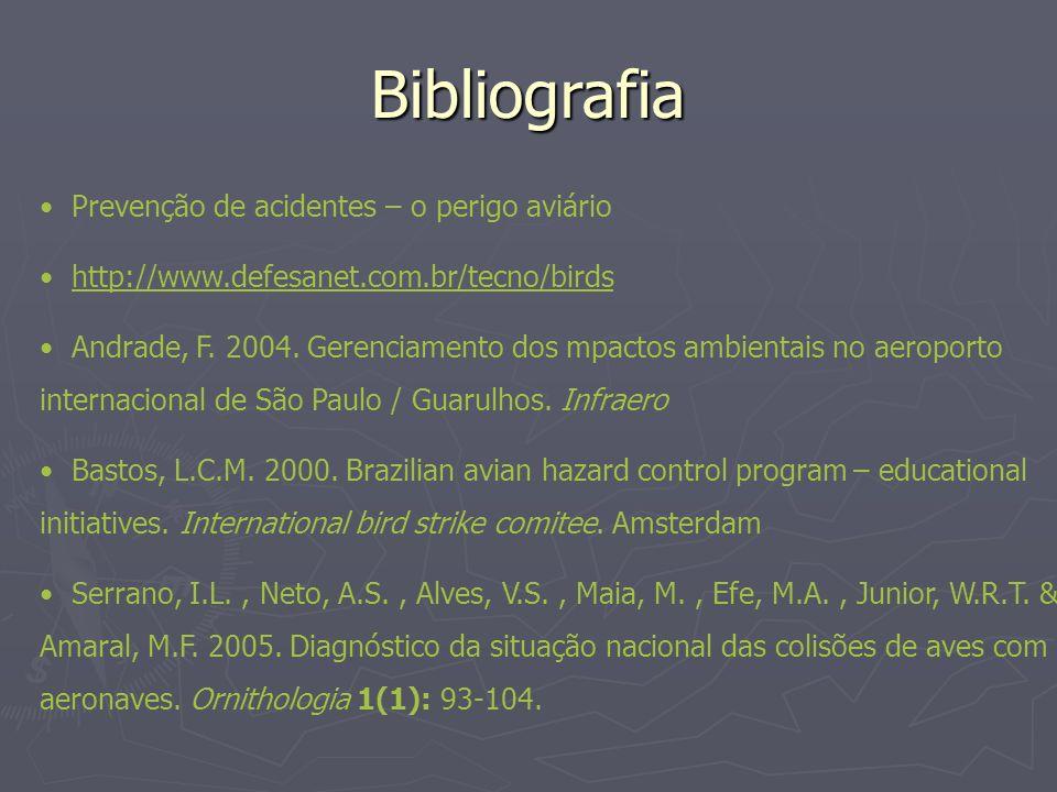 Bibliografia Prevenção de acidentes – o perigo aviário