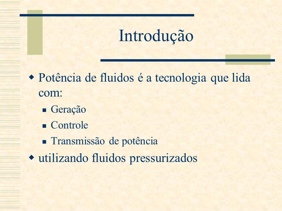 Introdução Potência de fluidos é a tecnologia que lida com: