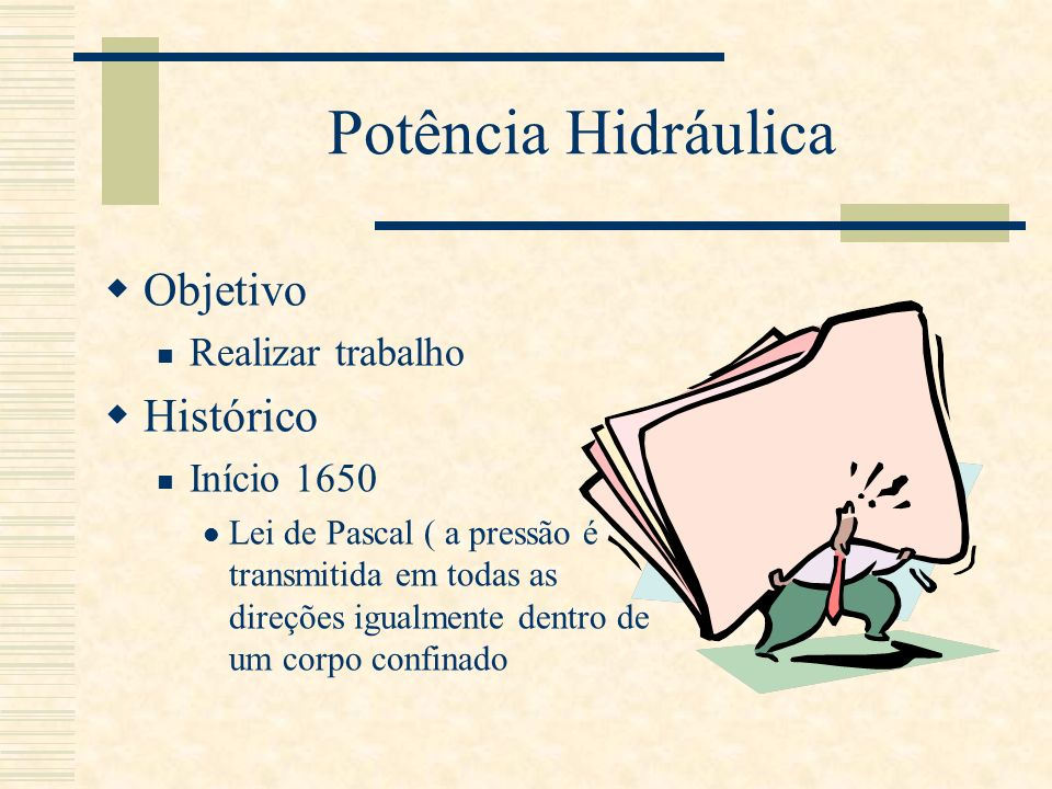Potência Hidráulica Objetivo Histórico Realizar trabalho Início 1650