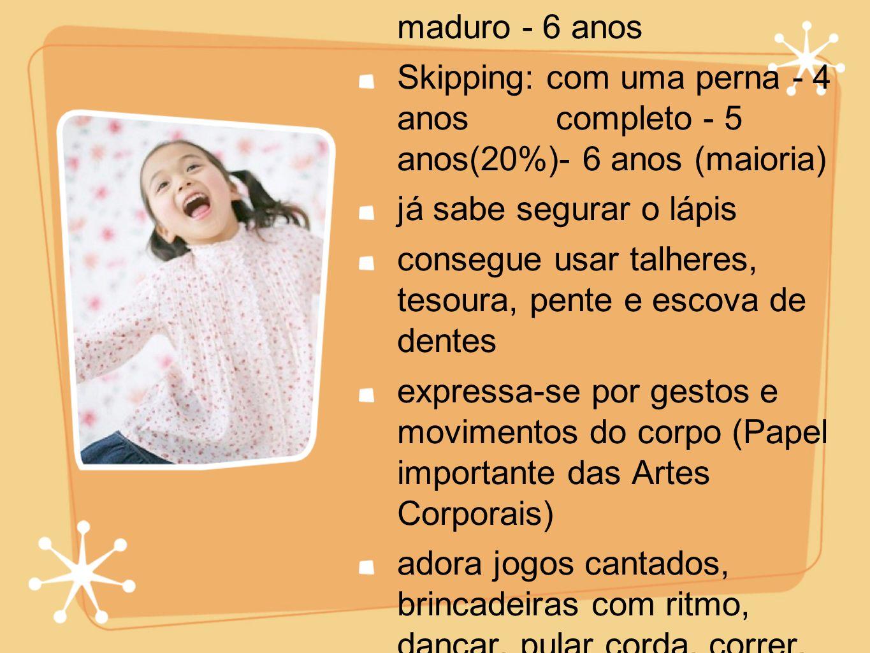 Galope: básico ineficiente - 4 anos hábil e maduro - 6 anos