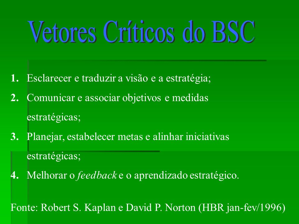 Vetores Críticos do BSC