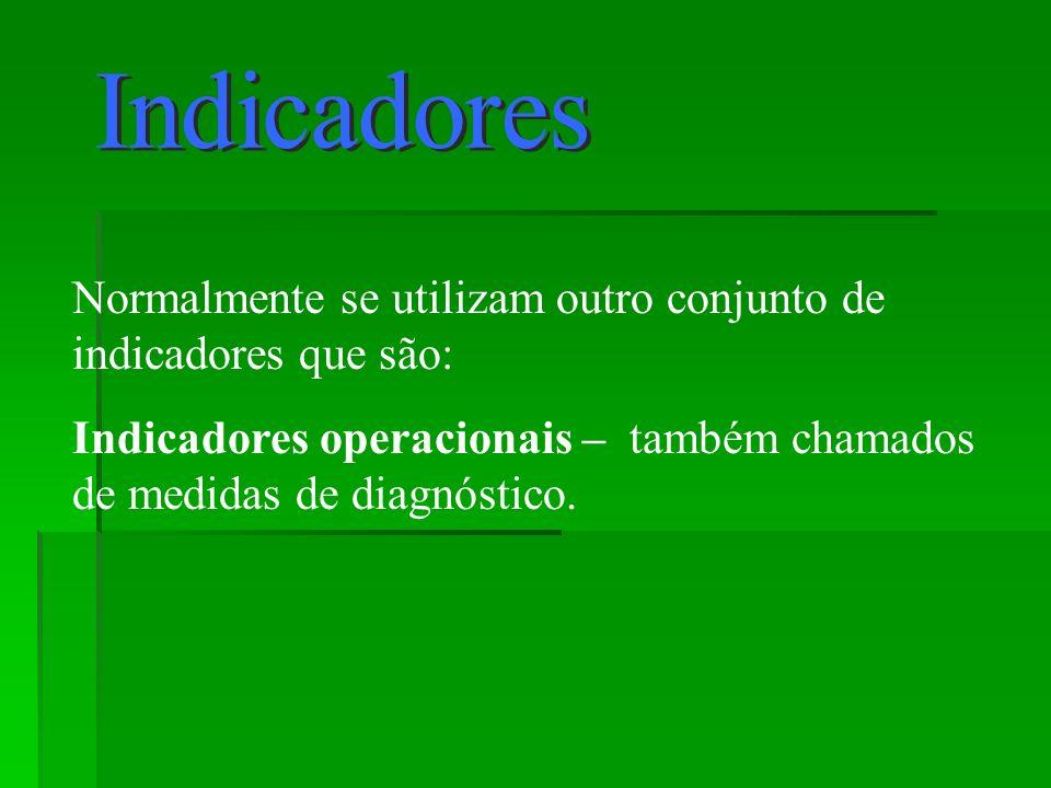 Indicadores Normalmente se utilizam outro conjunto de indicadores que são: Indicadores operacionais – também chamados de medidas de diagnóstico.
