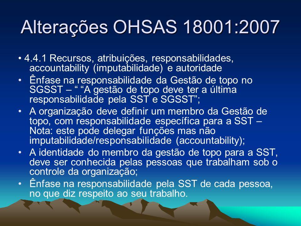 Alterações OHSAS 18001:2007 • 4.4.1 Recursos, atribuições, responsabilidades, accountability (imputabilidade) e autoridade.