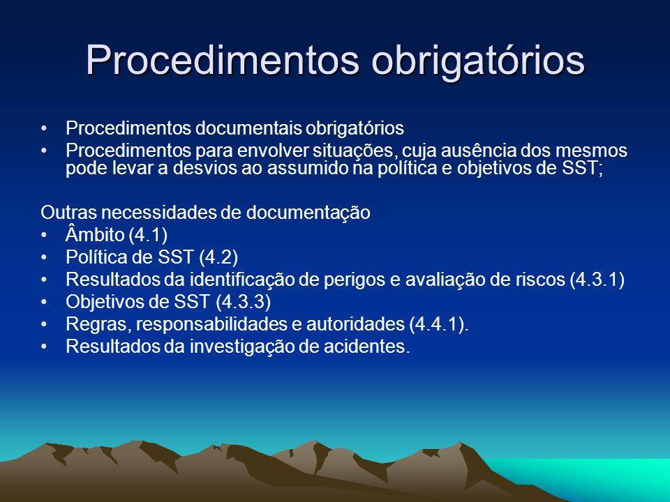 Procedimentos obrigatórios
