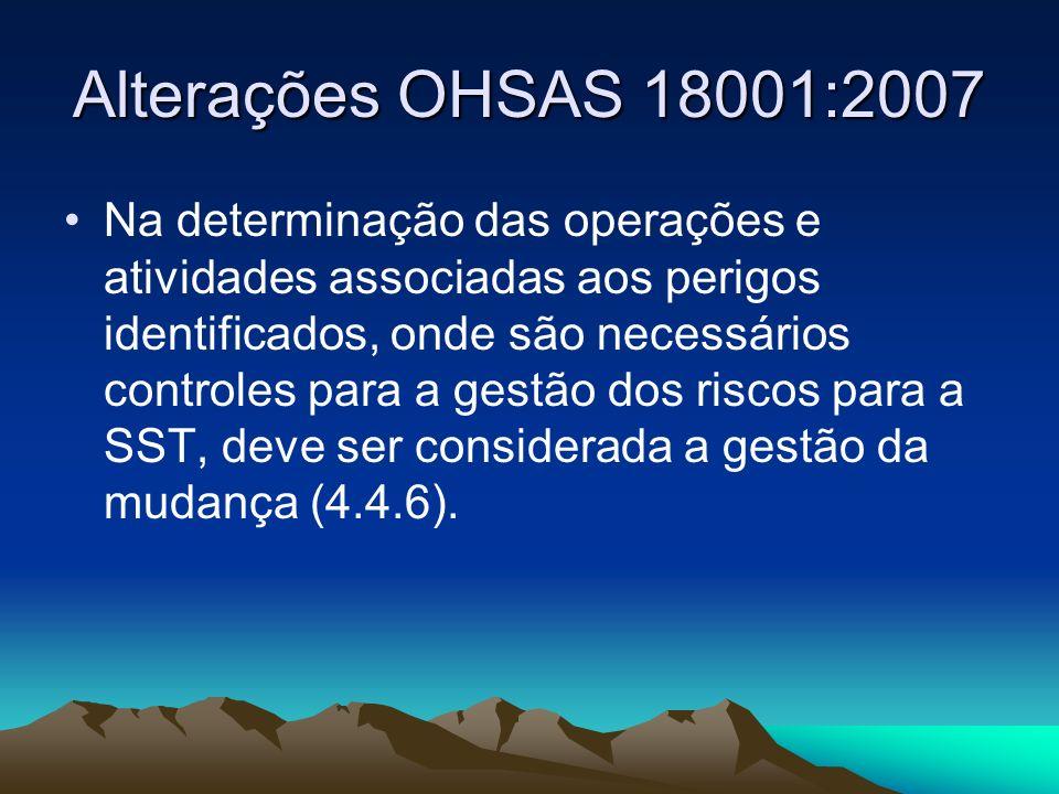 Alterações OHSAS 18001:2007