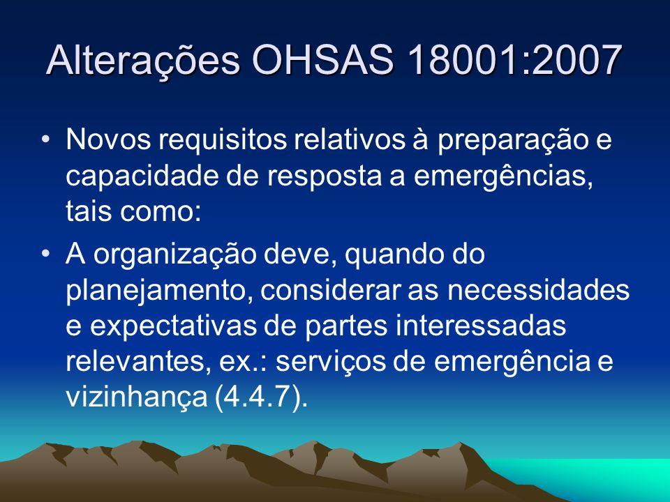 Alterações OHSAS 18001:2007 Novos requisitos relativos à preparação e capacidade de resposta a emergências, tais como:
