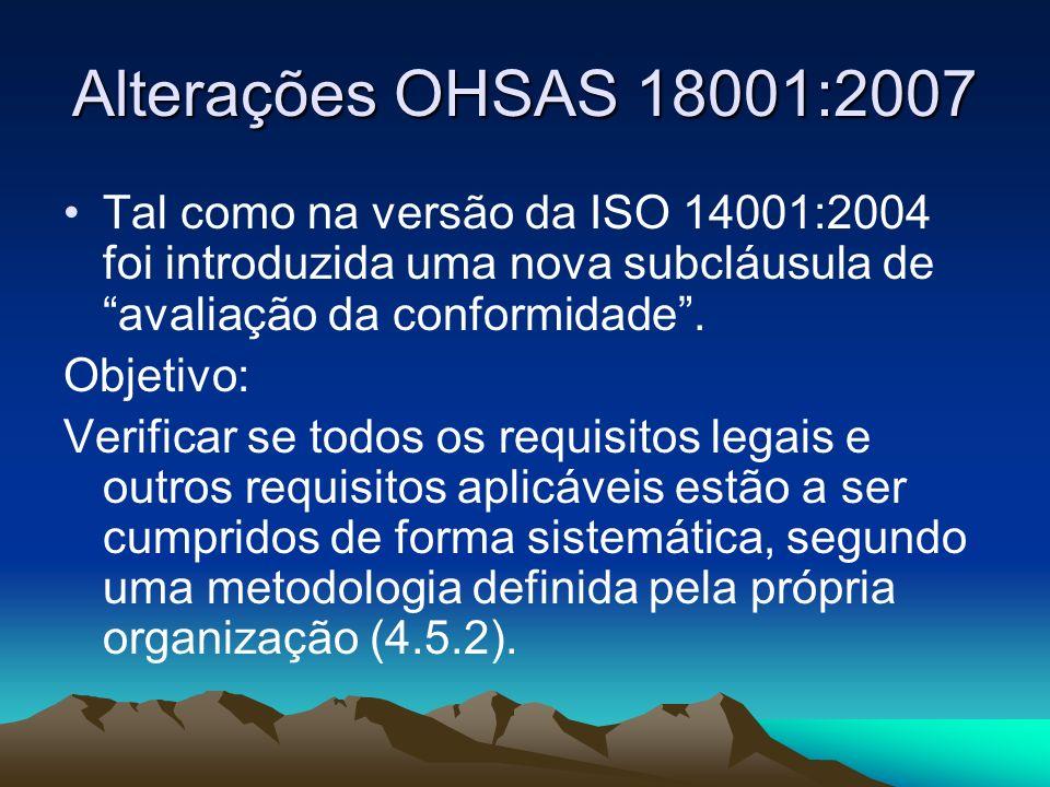 Alterações OHSAS 18001:2007Tal como na versão da ISO 14001:2004 foi introduzida uma nova subcláusula de avaliação da conformidade .