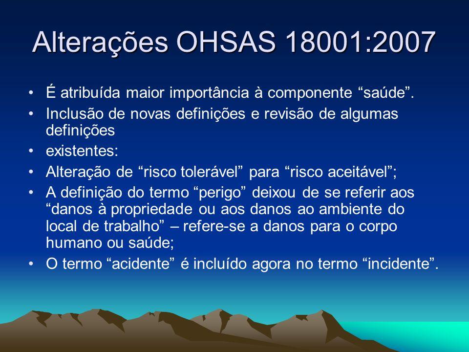 Alterações OHSAS 18001:2007 É atribuída maior importância à componente saúde . Inclusão de novas definições e revisão de algumas definições.