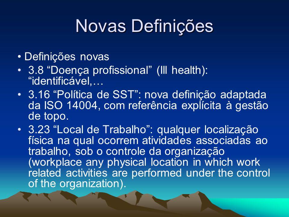 Novas Definições • Definições novas