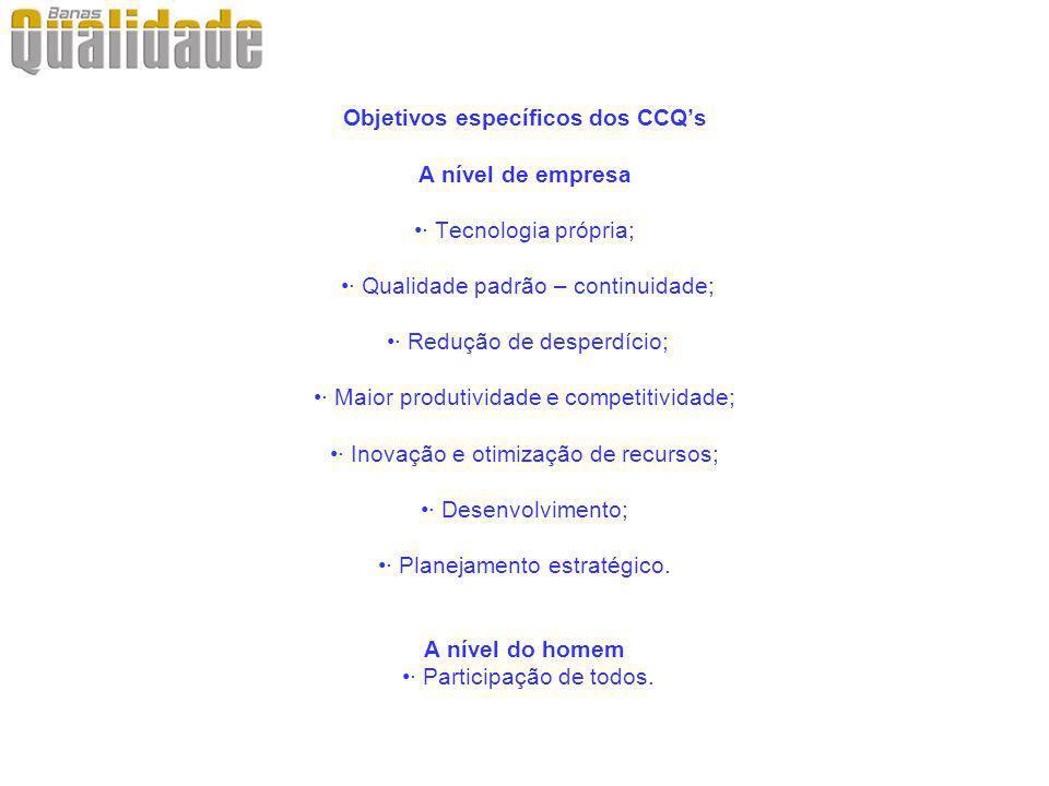 Objetivos específicos dos CCQ's A nível de empresa •· Tecnologia própria; •· Qualidade padrão – continuidade; •· Redução de desperdício; •· Maior produtividade e competitividade; •· Inovação e otimização de recursos; •· Desenvolvimento; •· Planejamento estratégico.