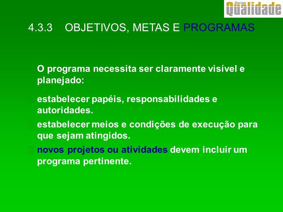 4.3.3 OBJETIVOS, METAS E PROGRAMAS