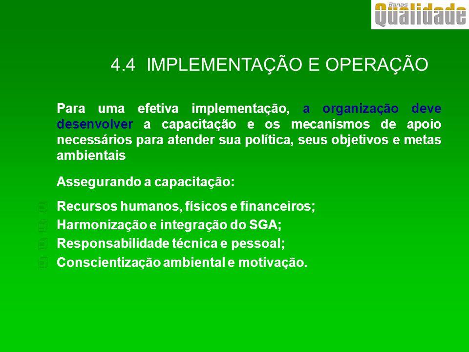 4.4 IMPLEMENTAÇÃO E OPERAÇÃO