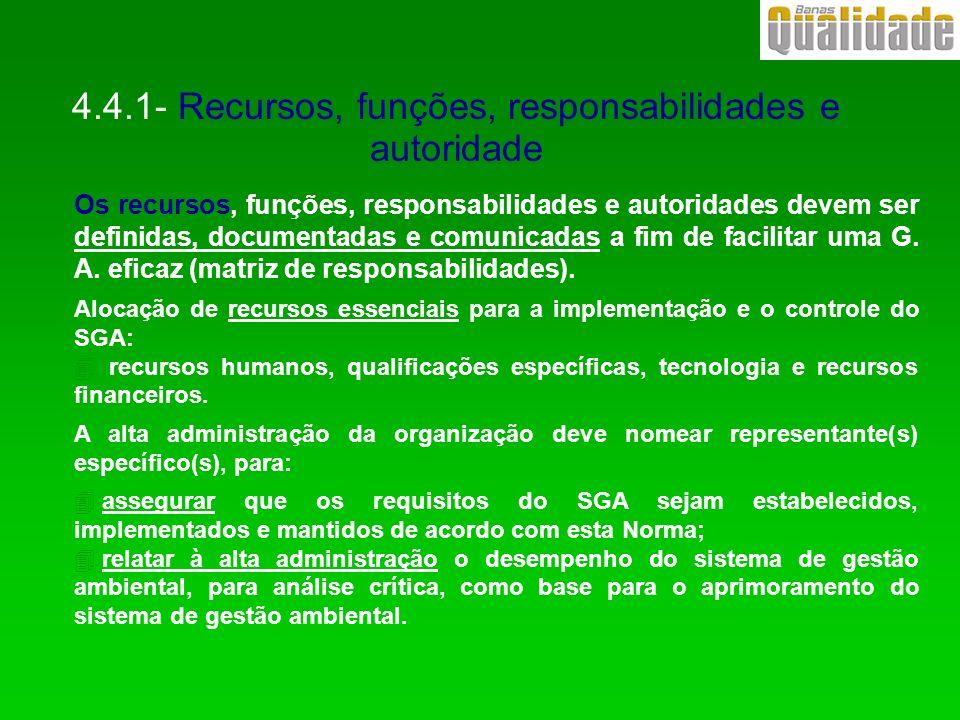 4.4.1- Recursos, funções, responsabilidades e autoridade