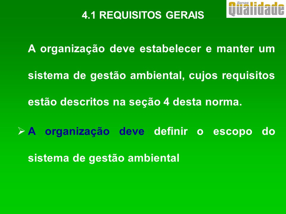 A organização deve definir o escopo do sistema de gestão ambiental