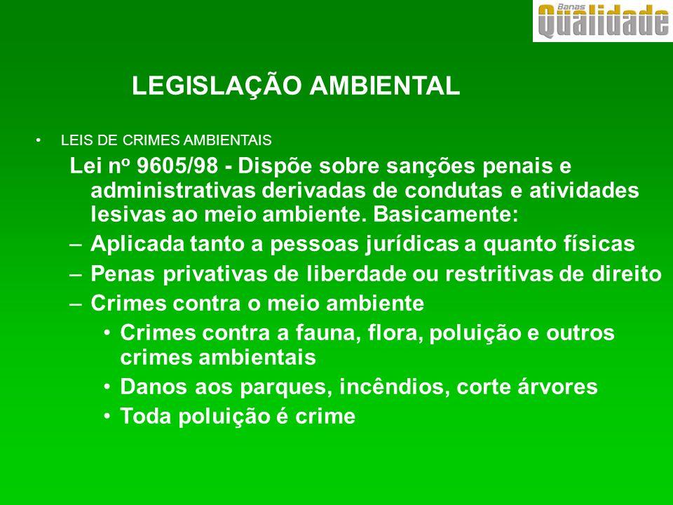 LEGISLAÇÃO AMBIENTAL LEIS DE CRIMES AMBIENTAIS.