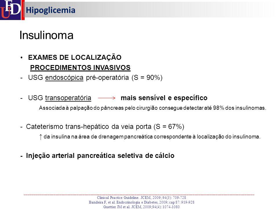 Insulinoma Hipoglicemia EXAMES DE LOCALIZAÇÃO PROCEDIMENTOS INVASIVOS