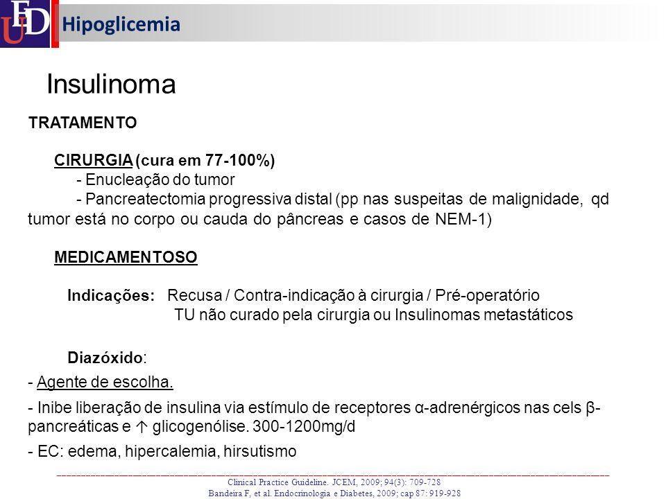 Insulinoma Hipoglicemia TRATAMENTO CIRURGIA (cura em 77-100%)