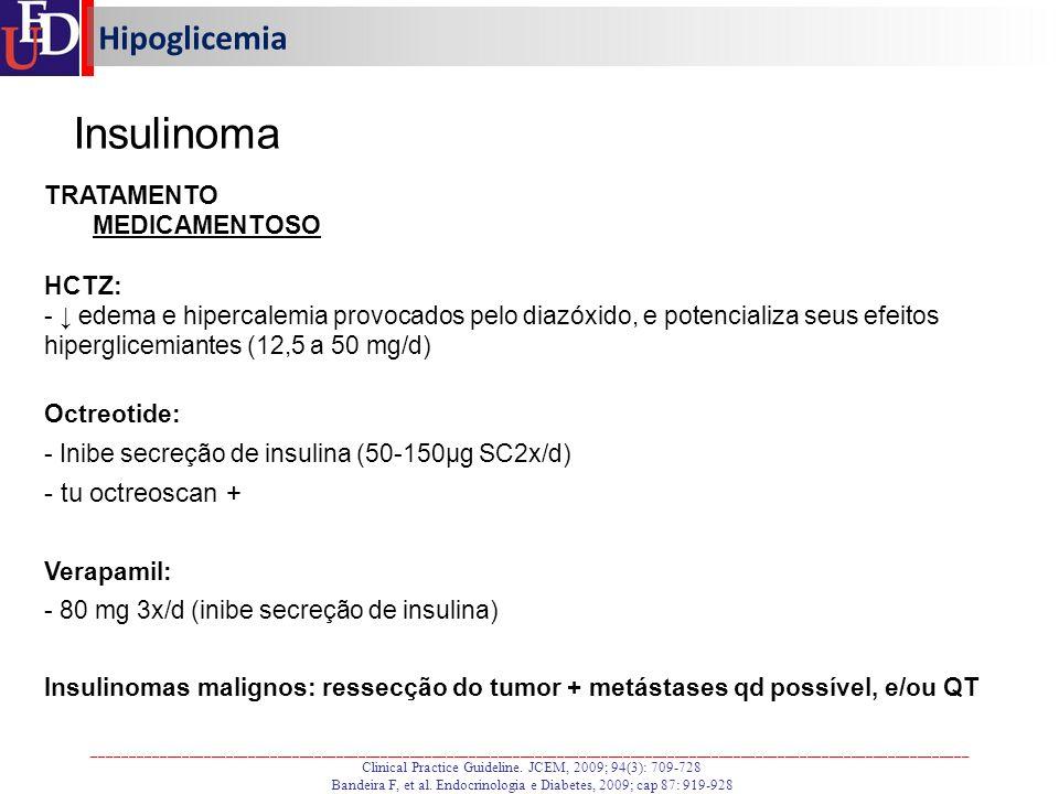 Insulinoma Hipoglicemia tu octreoscan + TRATAMENTO MEDICAMENTOSO HCTZ: