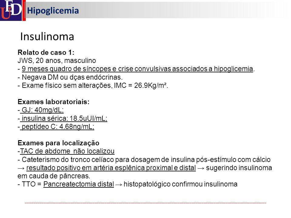 Insulinoma Hipoglicemia Relato de caso 1: JWS, 20 anos, masculino