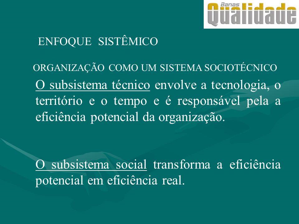 ENFOQUE SISTÊMICO ORGANIZAÇÃO COMO UM SISTEMA SOCIOTÉCNICO.
