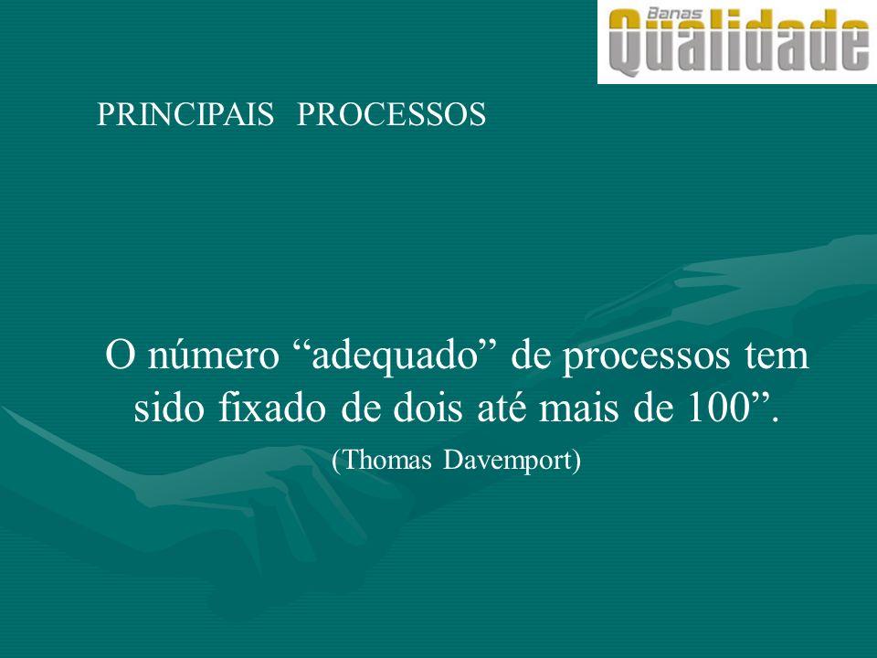 PRINCIPAIS PROCESSOS O número adequado de processos tem sido fixado de dois até mais de 100 . (Thomas Davemport)