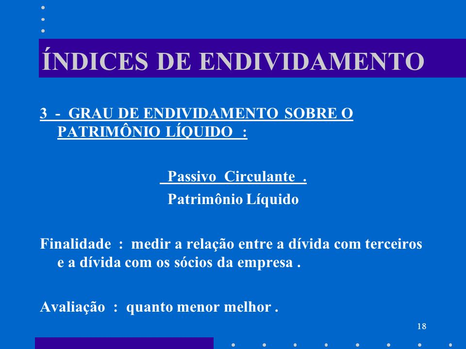 ÍNDICES DE ENDIVIDAMENTO
