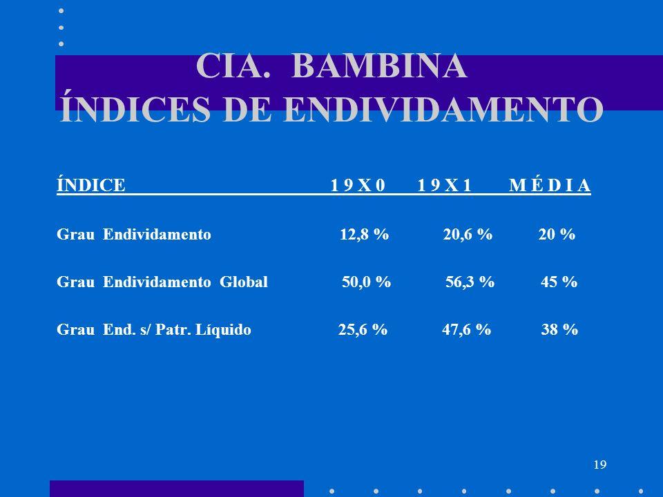 CIA. BAMBINA ÍNDICES DE ENDIVIDAMENTO