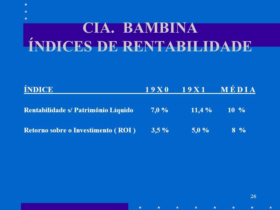 CIA. BAMBINA ÍNDICES DE RENTABILIDADE