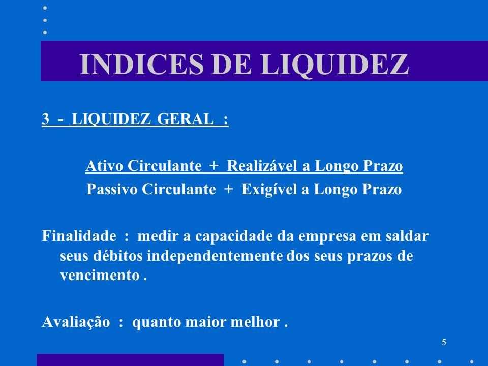 INDICES DE LIQUIDEZ 3 - LIQUIDEZ GERAL :