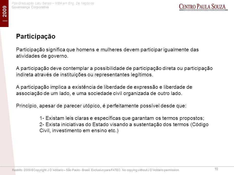 Participação Participação significa que homens e mulheres devem participar igualmente das atividades de governo.