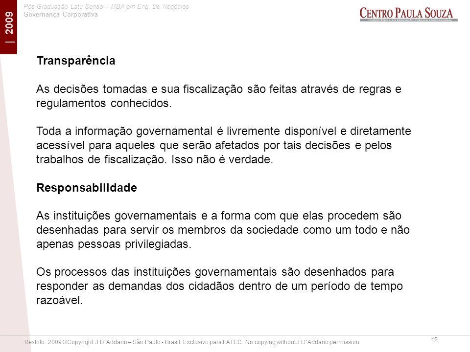 Transparência As decisões tomadas e sua fiscalização são feitas através de regras e regulamentos conhecidos.